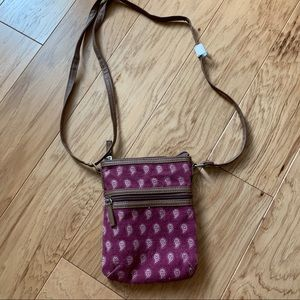 NEW brown and burgundy patterned crossbody bag